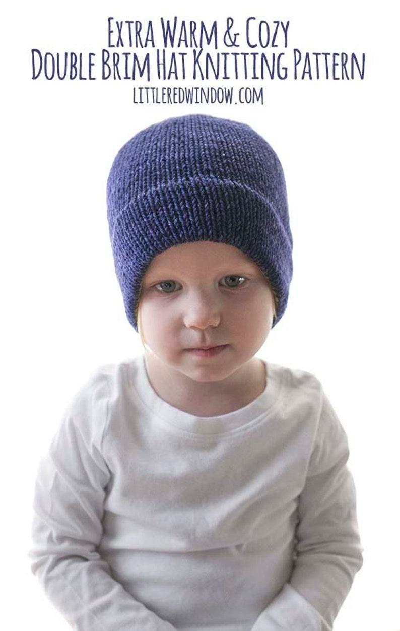 58add673a Easy Double Brim Hat KNITTING PATTERN   Warm Hat Pattern