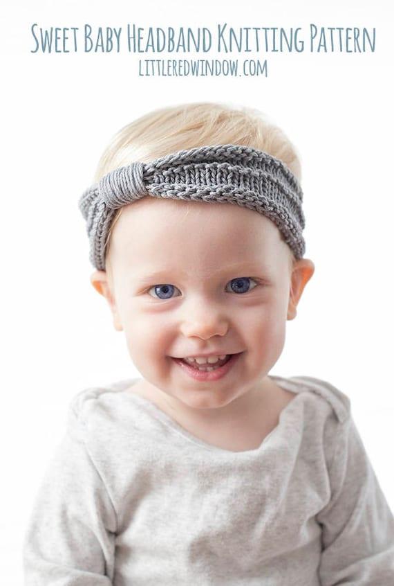 Baby Knit Headband Knitting Pattern Knit Baby Headband Etsy