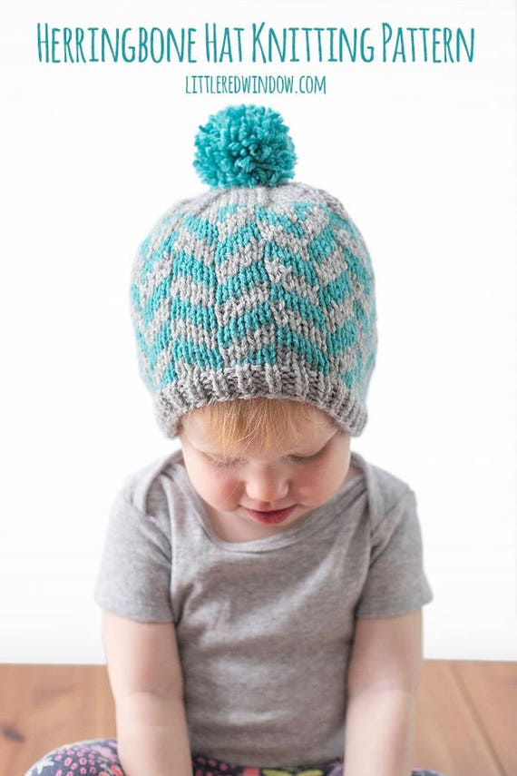 Herringbone Hat Knitting Pattern Herringbone Pattern Fair Etsy
