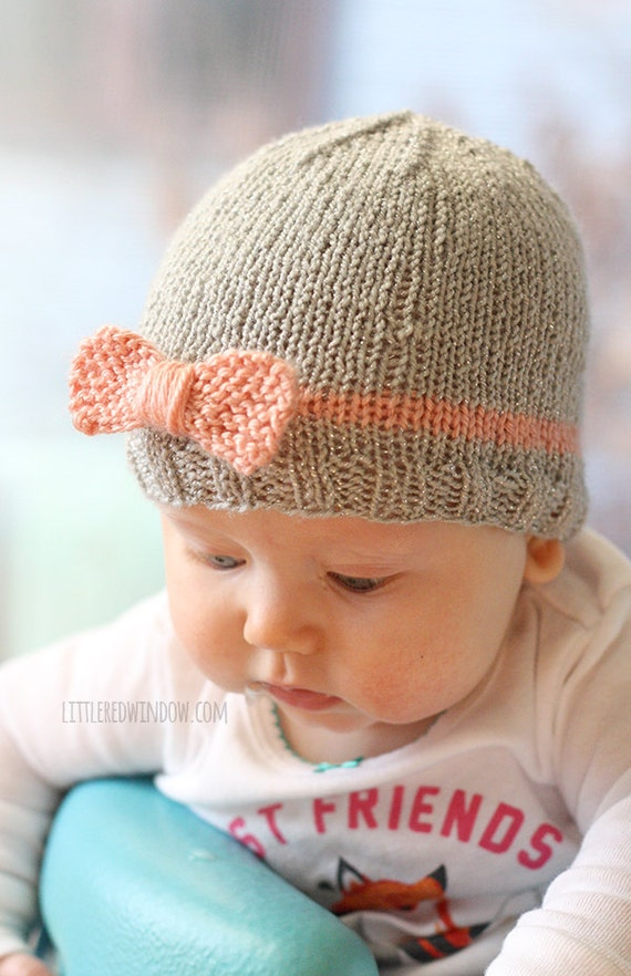 Knit Bow Baby Hat Knitting Pattern Newborn Baby Bow Hat Etsy