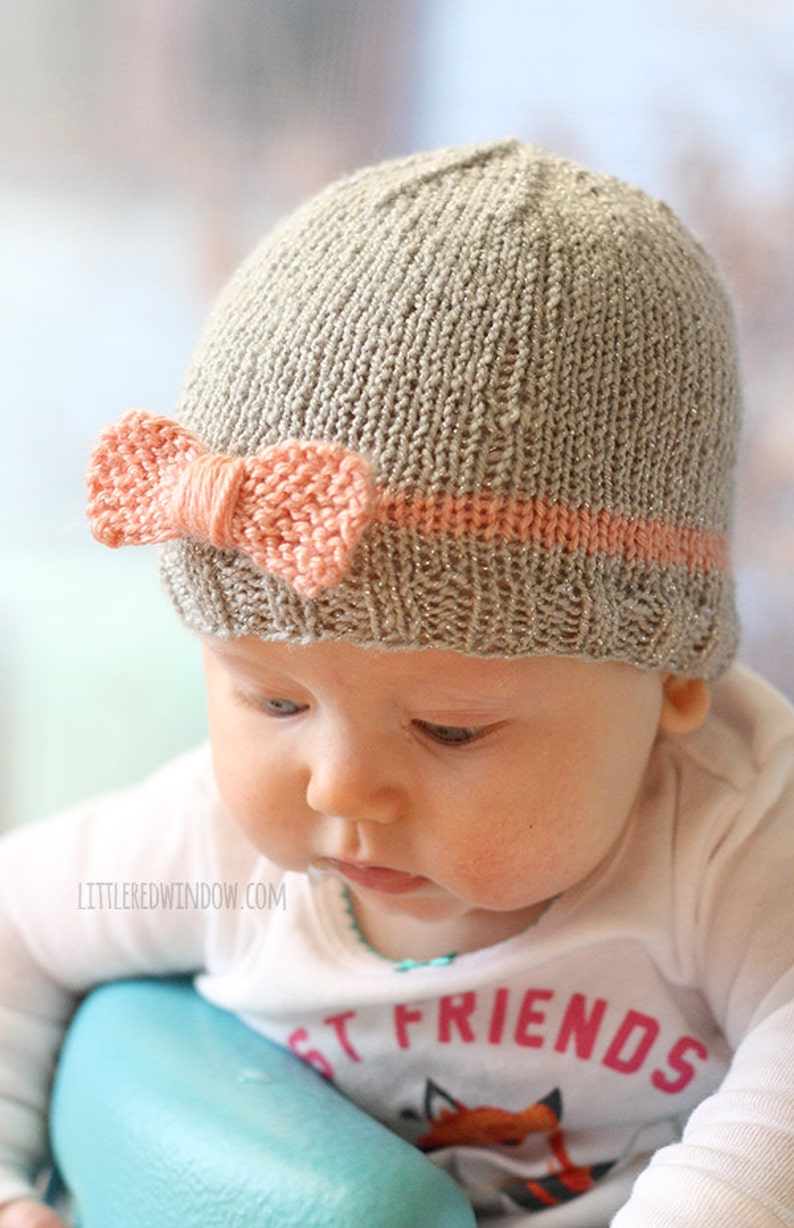 3634515cb Knit Bow Baby Hat KNITTING PATTERN   Newborn baby bow hat