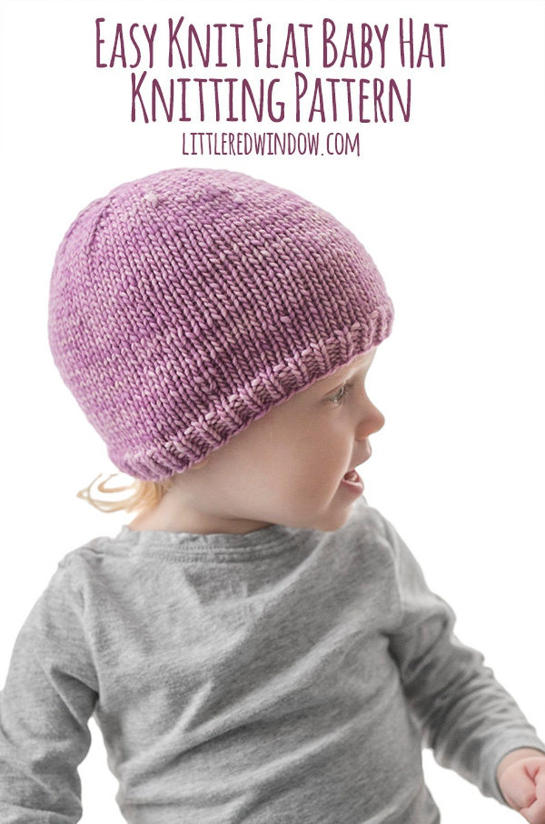 b4b006a41ae Easy Knit Flat Baby Hat KNITTING PATTERN   Flat Knit Hat