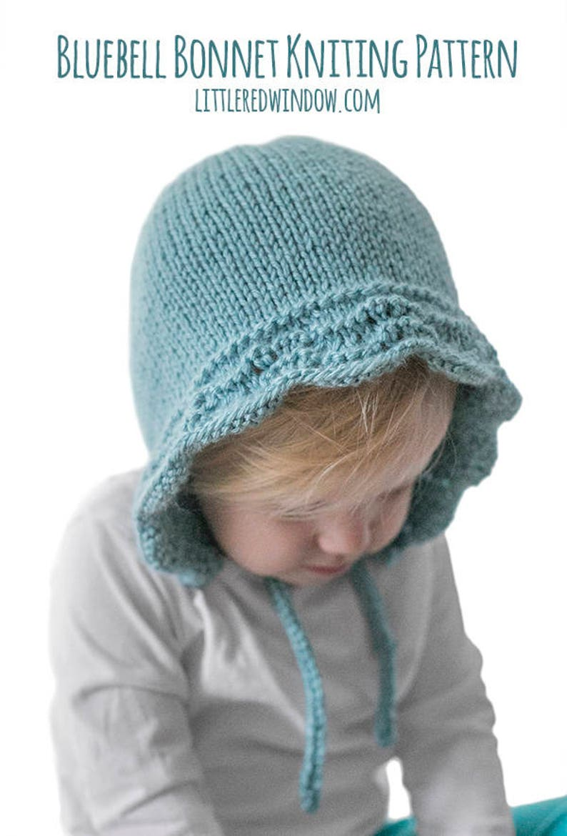Bluebell Baby Bonnet KNITTING PATTERN   Baby Bonnet Pattern  f4aa3e92932