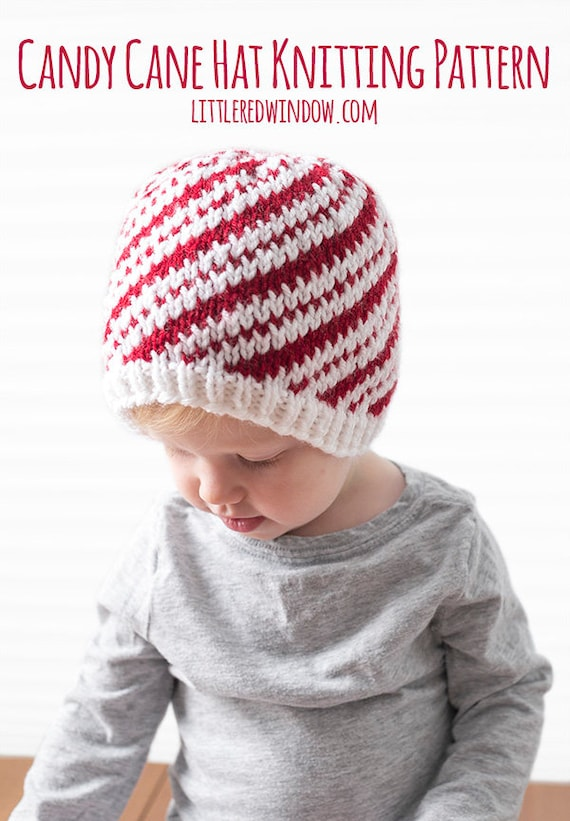 Baby Candy Cane Hat KNITTING PATTERN Candy Cane Pattern Etsy Impressive Baby Hat Knitting Pattern