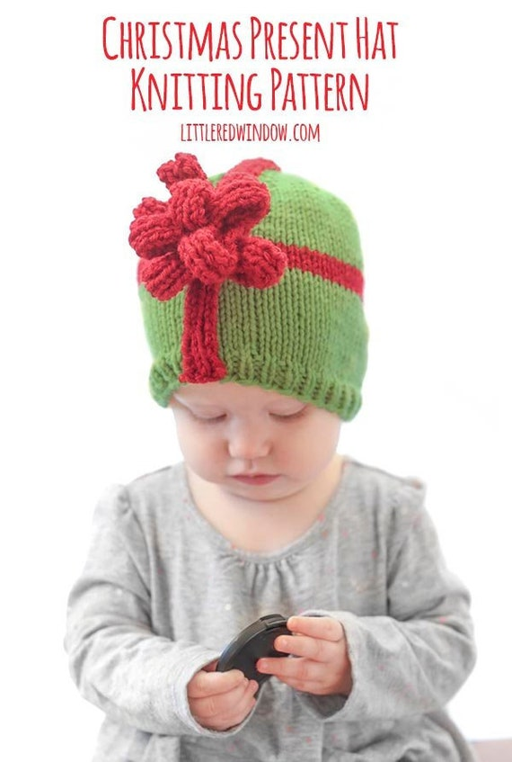 Christmas Present Bow Hat KNITTING PATTERN   My First   Etsy ab46b01b6e6