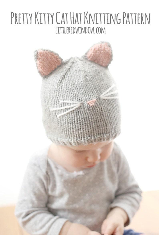 Baby Cat Hat KNITTING PATTERN  //  Cat Ear Hat Pattern   // image 0