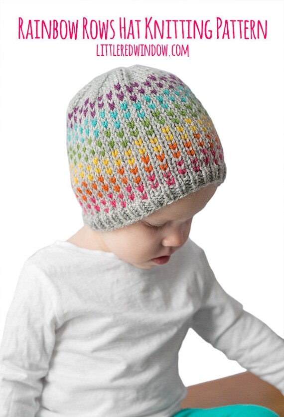 Rainbow Dots Hat KNITTING PATTERN   Colorful Hat Pattern    49553d4cdb2