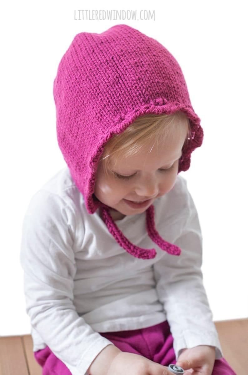 e832cd7c5 Scalloped Edge Baby Bonnet KNITTING PATTERN / Baby Bonnet Pattern/Bonnet  Baby Girl/Knit Scalloped Edge/Scalloped Baby Hat/Eyelet Baby Bonnet