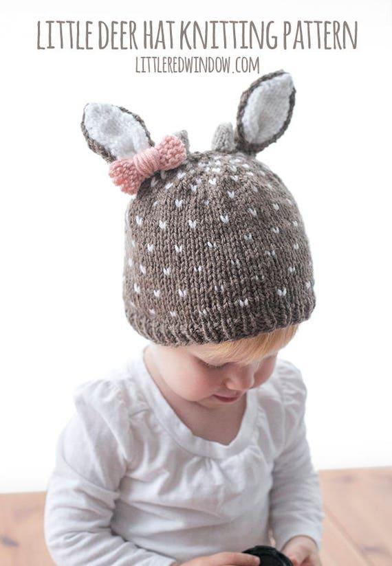 98d7aec1d20 Little Deer Hat KNITTING PATTERN   Baby Girl Deer Hat   Baby