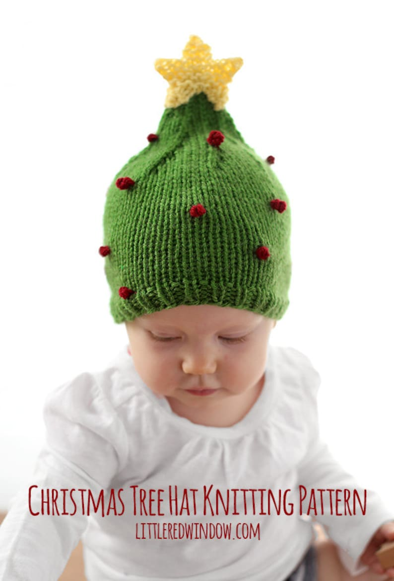 Christmas Tree Hat KNITTING PATTERN   My First Christmas  250eee5cba70