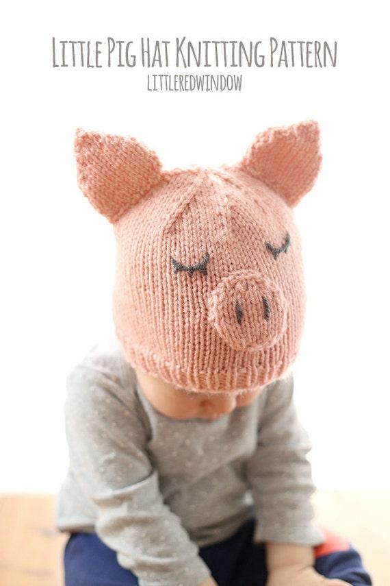 Bebé sombrero del cerdo tejer patrón / cerdo punto / sombrero