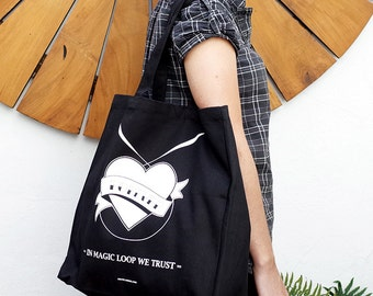 Knitting Magic Loop Shopping Bag / Knitting bag / Screen printed black bag