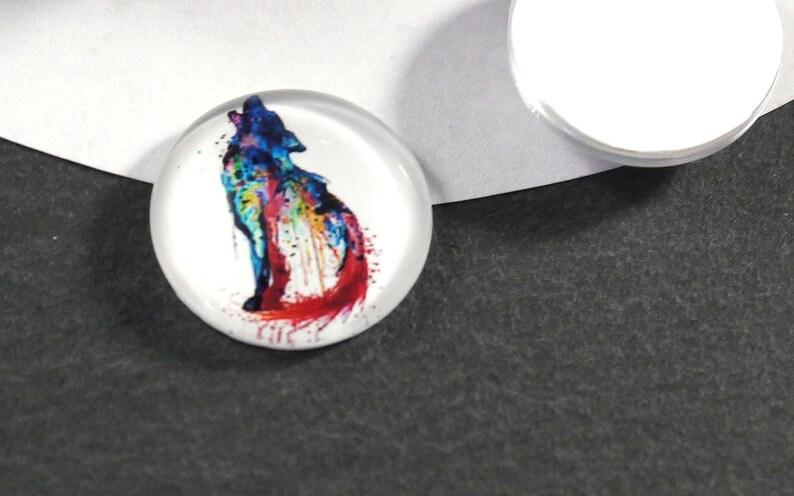 Cabochon Wolf 2 pieces jewelry glass stone 18 mm Fantasy jewelry supplies jewelry DIY jewellery stone rainbow jewelry stone