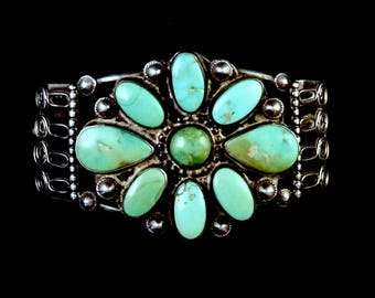 45g Old Pawn Vintage Navajo Sterling Silver Blossom Cuff Bracelet w Warm & Rich Royston Turquoise! Absolutely AMAZING Silver Work!