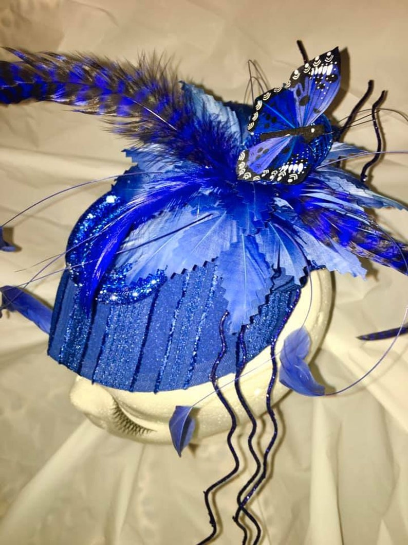 One of a kind women/'s Sapphire Distinguisher wearable art hat
