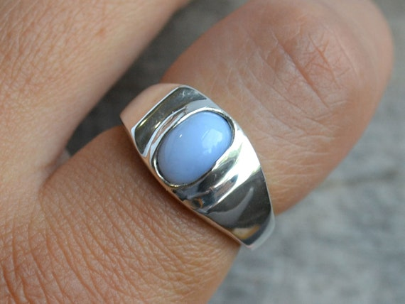 Mens Capri Blue Agate Stone Silver Stainless Steel Ring