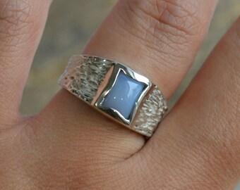 Ellensburg Blue Men's Ring in Sterling Silver, Branch Texture