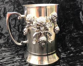 Double Walled Stainless Steel Blinged Pirate Tankard w/ matching necklace