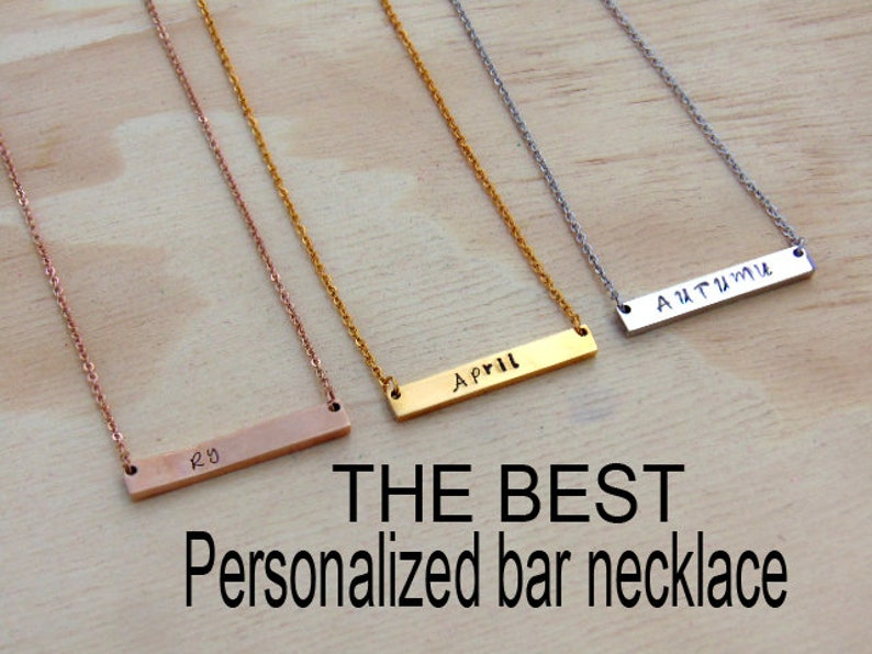 Stainless Steel Bar Hypoallergenic Necklace Personalized Roman Numerals Horizontal Bar Necklace stainless steel horizontal bar necklace