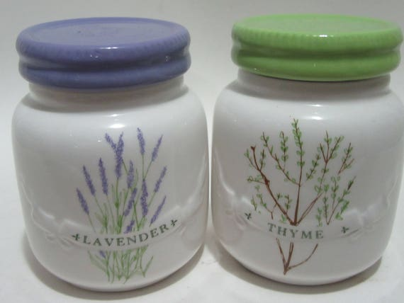 Sur Le Table Ceramic Herb Storage Jars Thyme U0026 Rosemary | Etsy