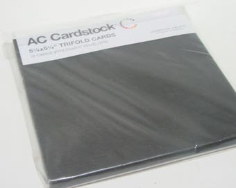 AC Cardstock Black Trifold Cards 5.25 x 5.25 Inches