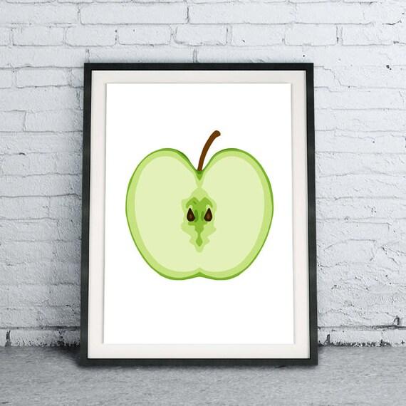 Green Apple Kitchen Fruit Printable Art Print, Digital Download, Home Decor  Wall Art, Nursery Decor, Instant Download, Modern Kitchen Art
