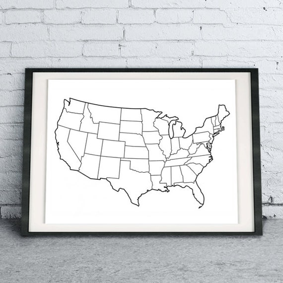 United States Map DIY Digital Download Printable Coloring Page, Map  Colouring Book Page, Coloring State Map Print At Home, Art Therapy