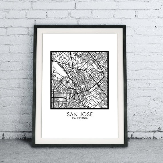 San Jose Ca Printable City Map Download Diy Modern Minimalist Etsy