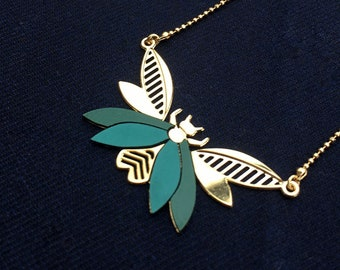 Green 24k gold filled insect necklace, handmade in Paris. Retro style