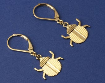 Minimalist pendant beetle earrings. 24k gold filled insect art deco design. French jewelry made in Paris. Retro style. Handmade.
