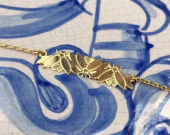 minimalist insect bracelet. 24k gold filled insect art deco design. French jewelry made in Paris. Retro style. Handmade.