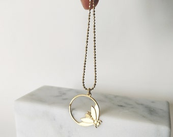minimalist insect necklace. 24k gold filled insect art deco design. French jewelry made in Paris. Retro style. Handmade.