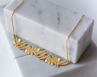 Retro and art deco necklace, 24k gold plated, handmade in Paris