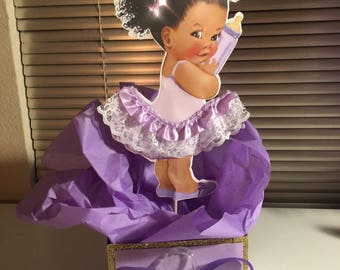 Baby Girl Afro Puff Tutu Centerpiece Baby Shower Birthday Etsy