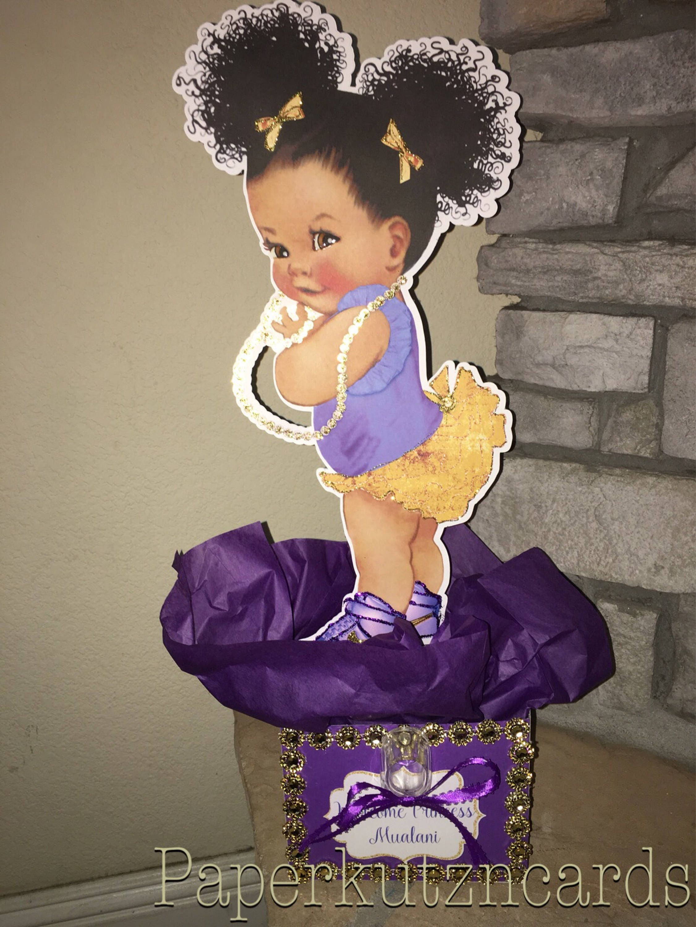 Afro Puff Baby African American Baby Purple Gold Baby Etsy