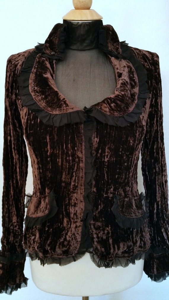 Brandy - 2pc Dark Brown Vintage Style Velvet Blazer