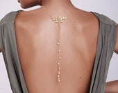 Bohemian Gold BackDrop Necklace with Pearls - wedding necklace , wedding jewelry , backless dress