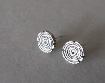 Silver Stud Earrings - Rustic earrings , tree earrings , silver rustic earrings , woodland earrings , gift for her, round stud earrings