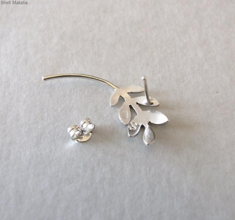 cartilage earring silver ear piercing Silver Leaves Cartilage earring helix stud cartilage stud earring helix piercing Bohemian