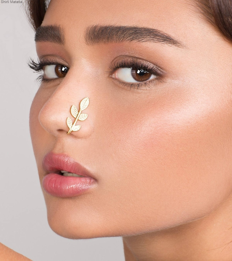 gold faux nose ring Long Faux Leaves Nose Ring nose jewelry fake nose piercing leaves nose hoop fake piercing fake nose hoop