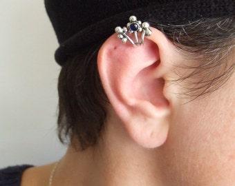 Silver Berries Ear Cuff with Gemstone - no piercing , silver ear cuff , berries ear cuff , ear cuff , woodland ear cuff