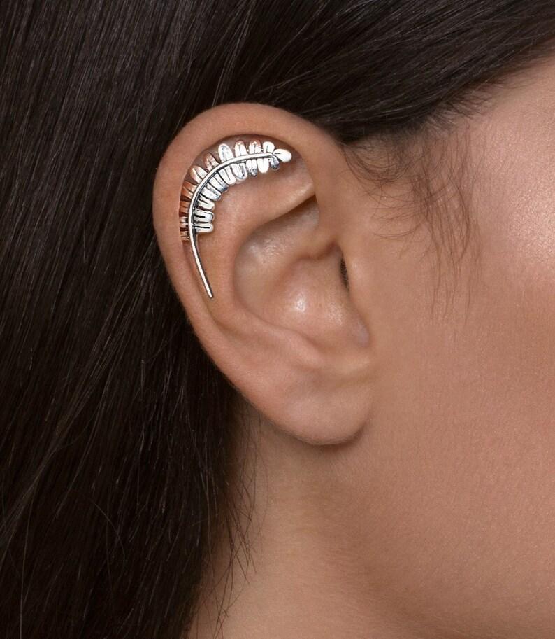 33ace7ddd3e71 Silver Fern Cartilage earring - cartilage earring , silver ear piercing ,  cartilage stud earring , helix piercing , helix stud
