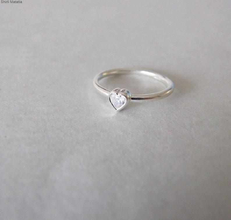 Góra Pierścionek zaręczynowy z sercem-Srebrny pierścionek Srebrny   Etsy CG08