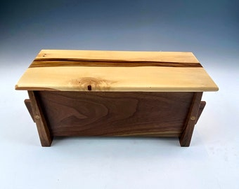 Solid Wood Box Artisan Crafted from Walnut with Removable Lid