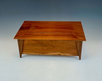 Simple cherry and walnut box with removable lid, cremation urn, home accent, great gift, hide clutter, trinket holder, for knick knacks