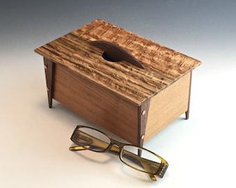 Small Wooden Keepsake Box Handmade from Walnut Cherry and Oak with Velvet Lining