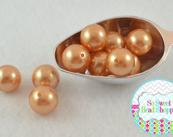 20mm Chunky Acrylic Pearls 10ct, Golden Sandy Brown, Gumball Beads, Round