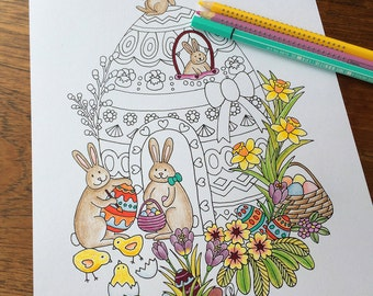 Easter Decorations Colouring Bunny Eggs Gift Chick Coloring Pages Whimsical Art Cute House
