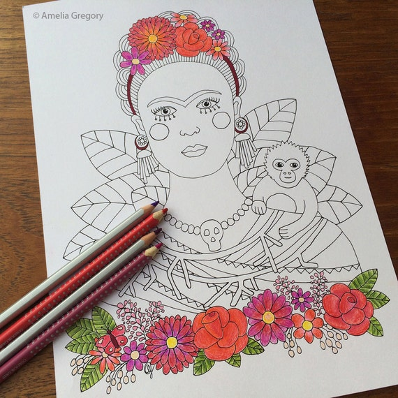 - Coloring Pages For Adults Adult Colouring Book Frida Kahlo Etsy
