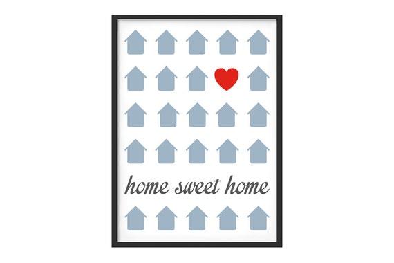 Poster gedruckt Diagramm-Thema Heimat süße Heimat weißen